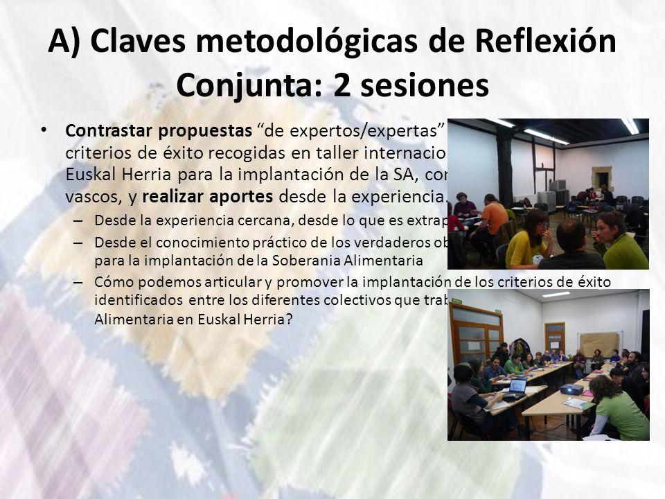 A) Claves metodológicas de Reflexión Conjunta: 2 sesiones