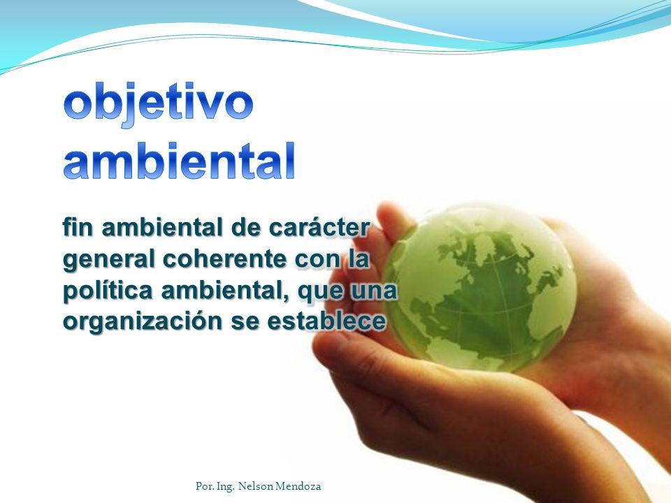 objetivo ambiental fin ambiental de carácter general coherente con la política ambiental, que una organización se establece.