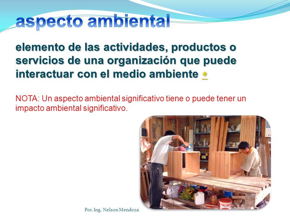 aspecto ambiental elemento de las actividades, productos o servicios de una organización que puede interactuar con el medio ambiente 