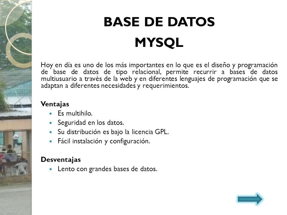 BASE DE DATOS MYSQL.