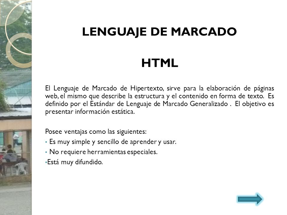 HTML LENGUAJE DE MARCADO