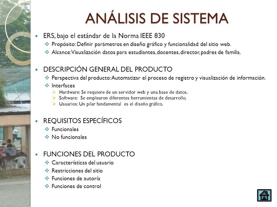 ANÁLISIS DE SISTEMA ERS, bajo el estándar de la Norma IEEE 830