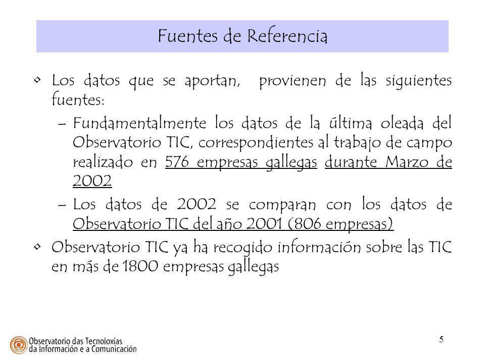 Fuentes de Referencia Los datos que se aportan, provienen de las siguientes fuentes:
