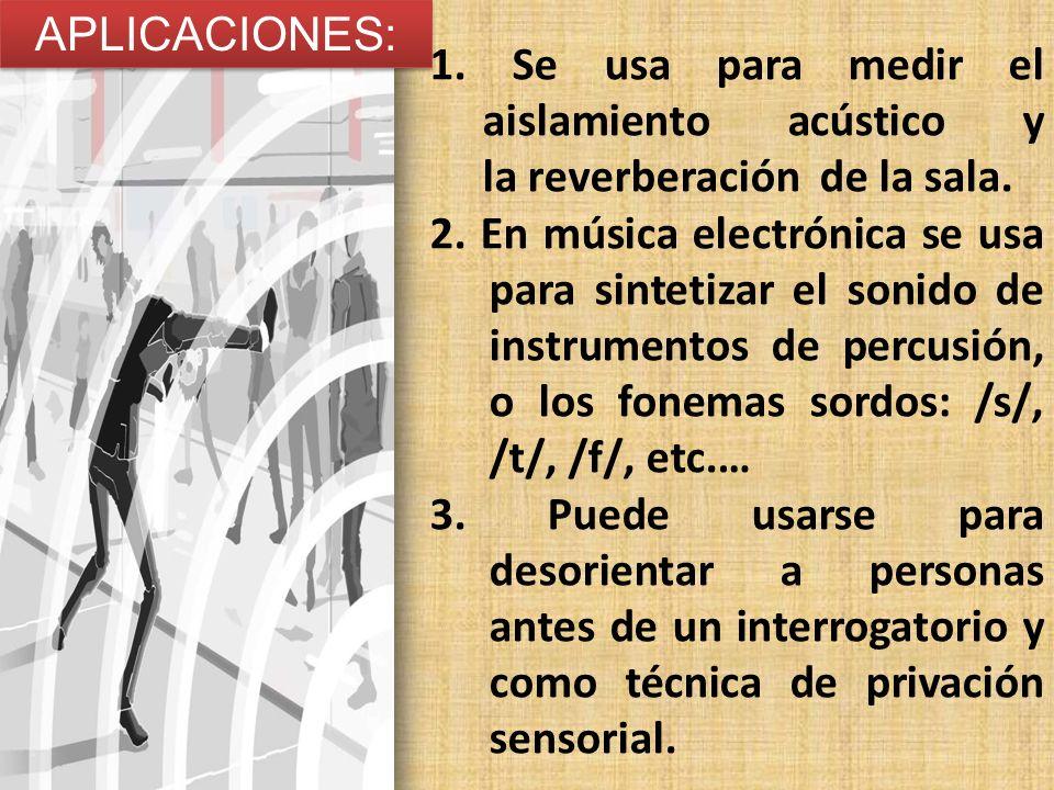 APLICACIONES: 1. Se usa para medir el aislamiento acústico y la reverberación de la sala.