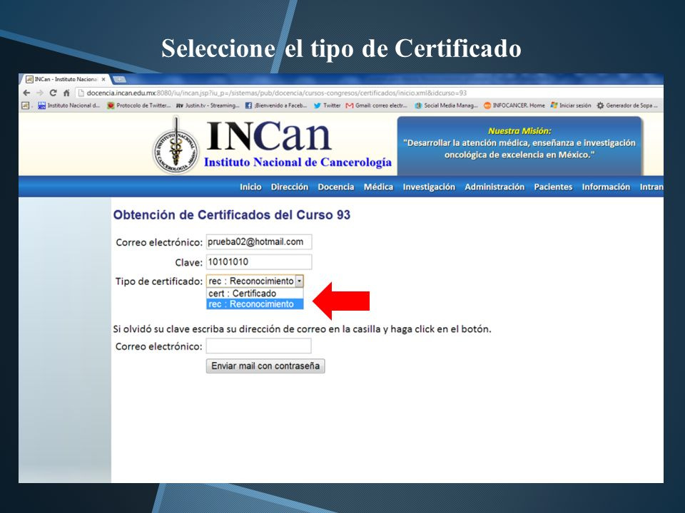 Seleccione el tipo de Certificado