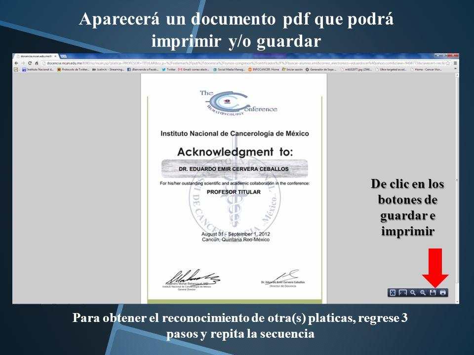 Aparecerá un documento pdf que podrá imprimir y/o guardar