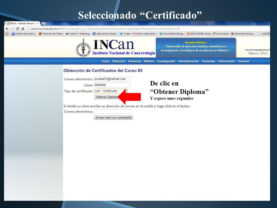 Seleccionado Certificado