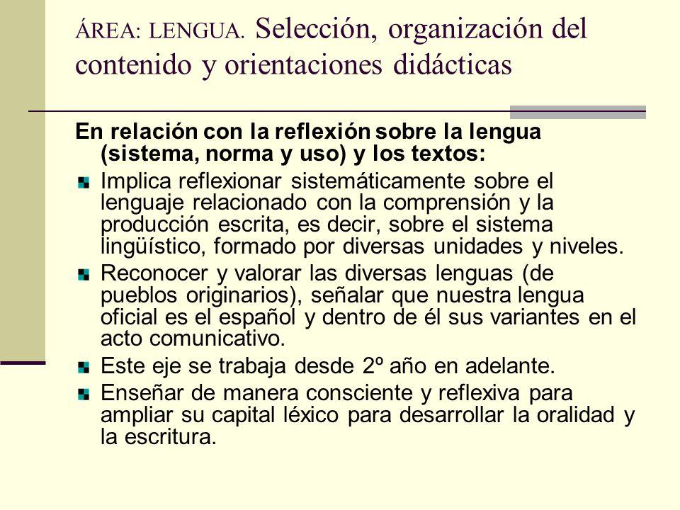 ÁREA: LENGUA. Selección, organización del contenido y orientaciones didácticas