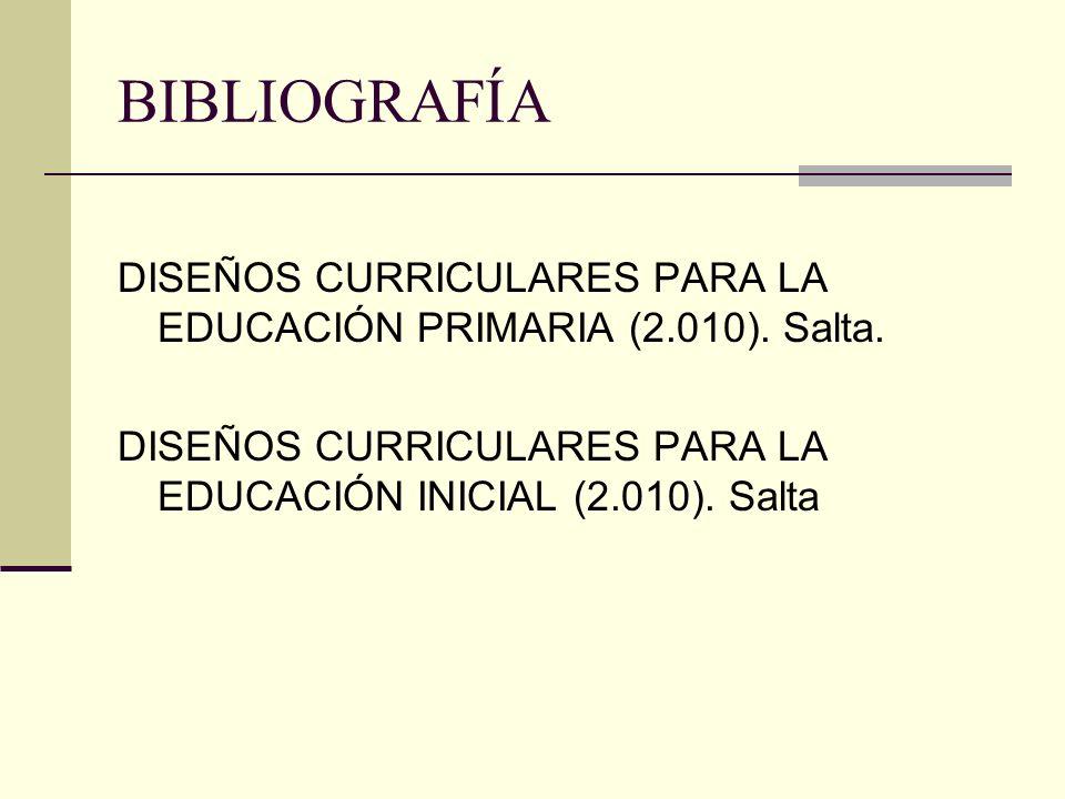 BIBLIOGRAFÍA DISEÑOS CURRICULARES PARA LA EDUCACIÓN PRIMARIA (2.010).