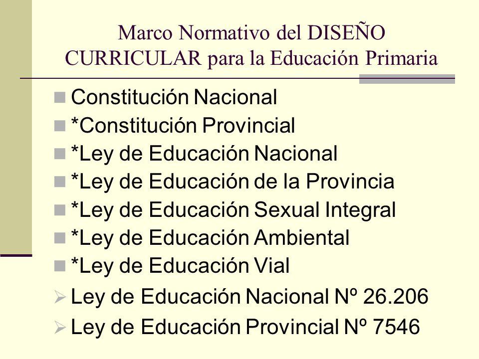 Marco Normativo del DISEÑO CURRICULAR para la Educación Primaria