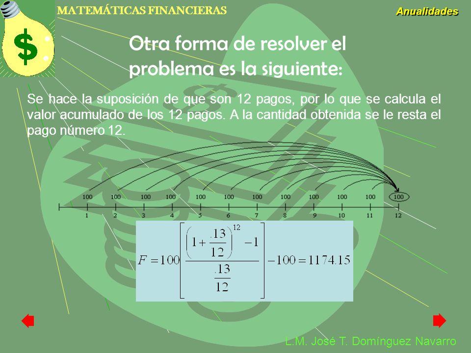 Otra forma de resolver el problema es la siguiente: