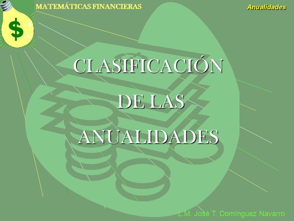 CLASIFICACIÓN DE LAS ANUALIDADES