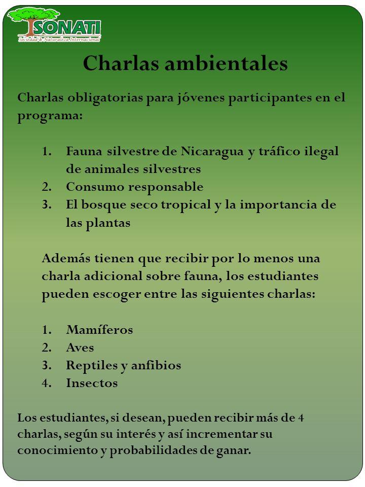 Charlas ambientales Charlas obligatorias para jóvenes participantes en el programa: