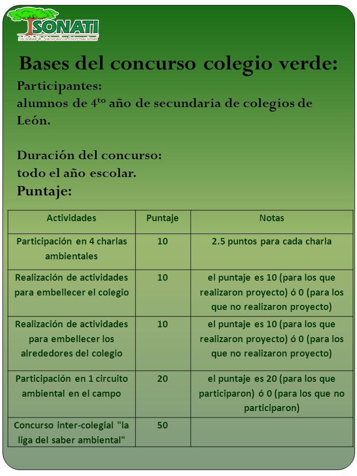 Bases del concurso colegio verde: