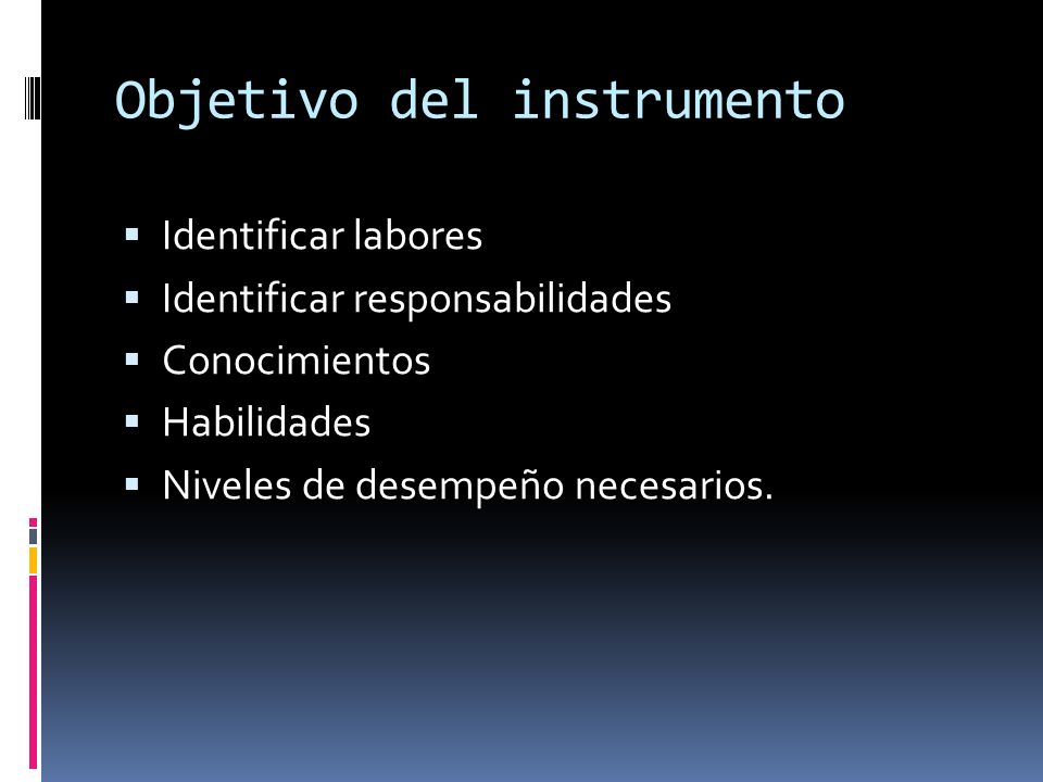 Objetivo del instrumento