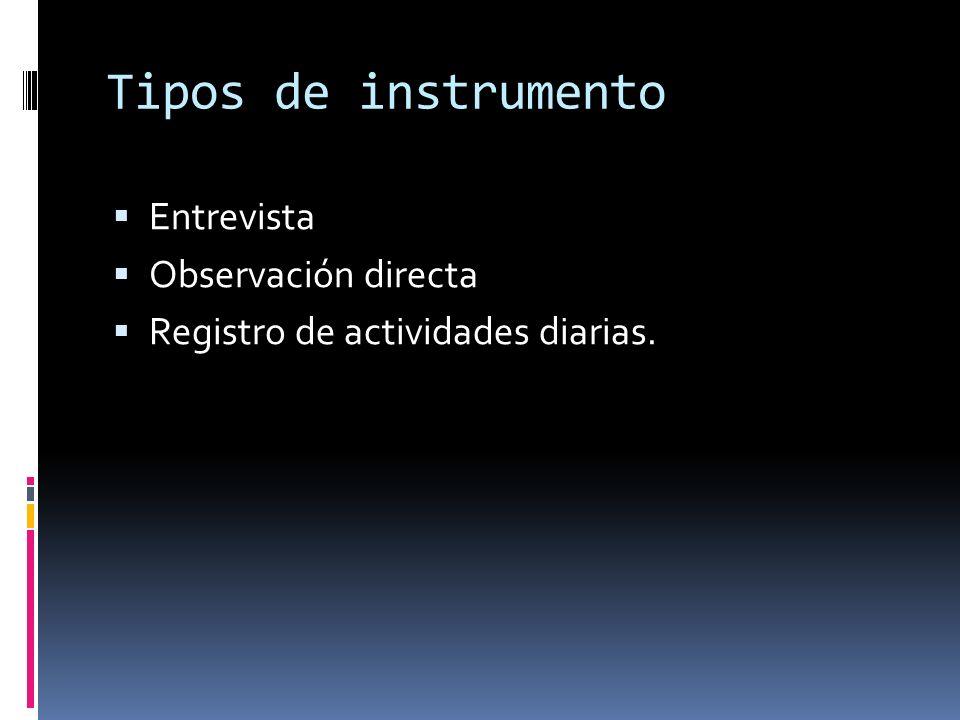 Tipos de instrumento Entrevista Observación directa