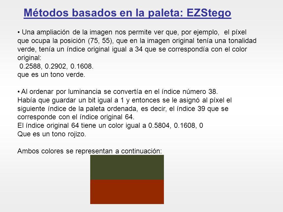 Métodos basados en la paleta: EZStego