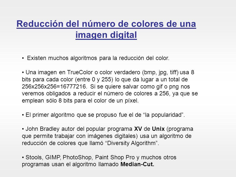 Reducción del número de colores de una imagen digital