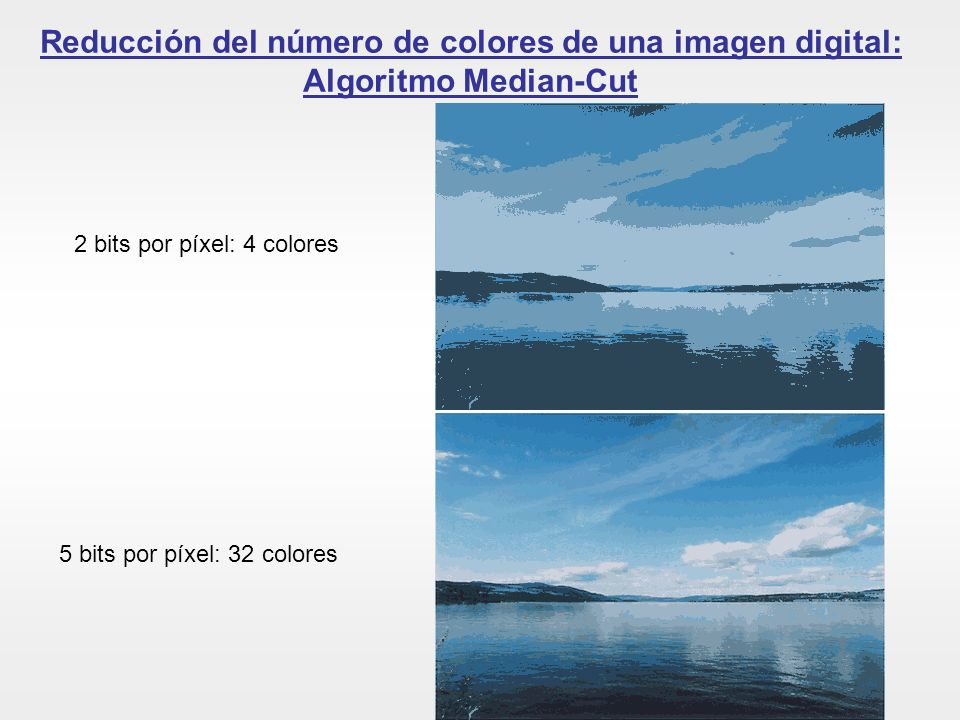 Reducción del número de colores de una imagen digital: Algoritmo Median-Cut