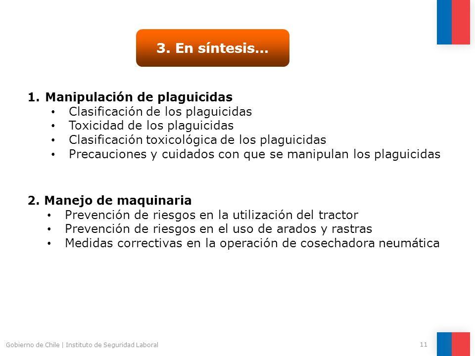 3. En síntesis… Manipulación de plaguicidas