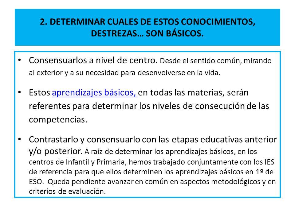 2. DETERMINAR CUALES DE ESTOS CONOCIMIENTOS, DESTREZAS… SON BÁSICOS.