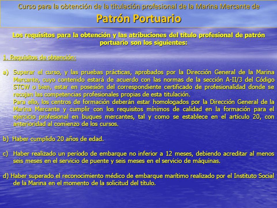 Curso para la obtención de la titulación profesional de la Marina Mercante de