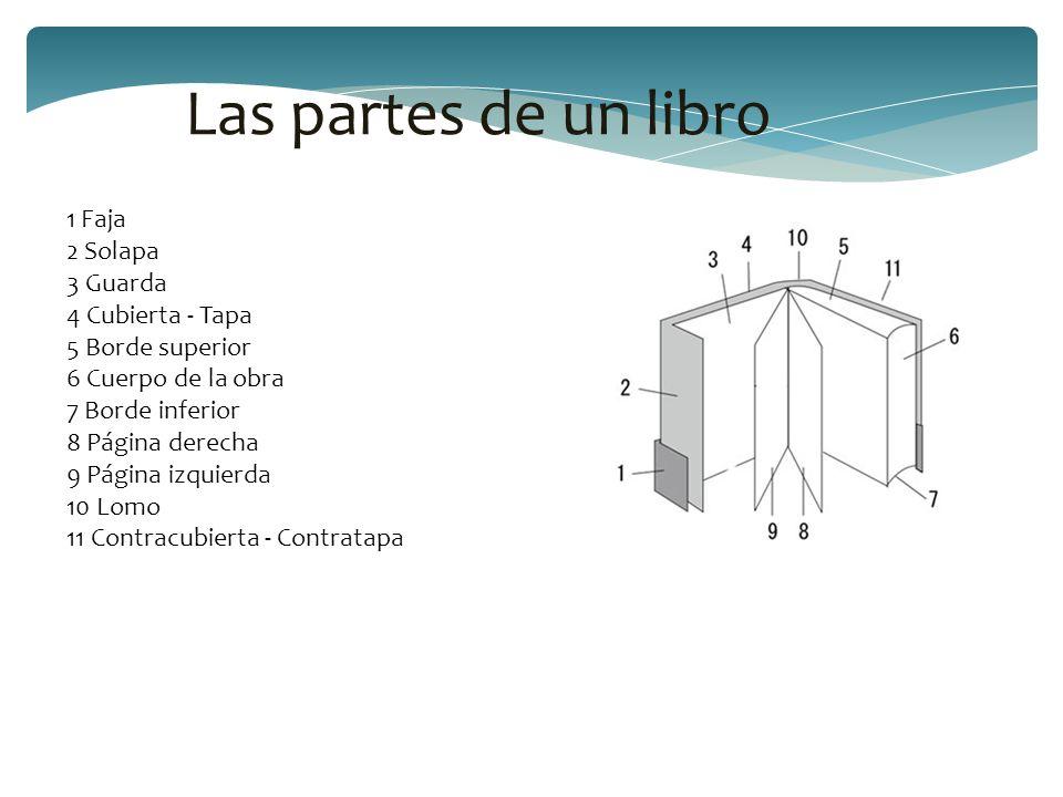 Las partes de un libro 1 Faja 2 Solapa 3 Guarda 4 Cubierta - Tapa
