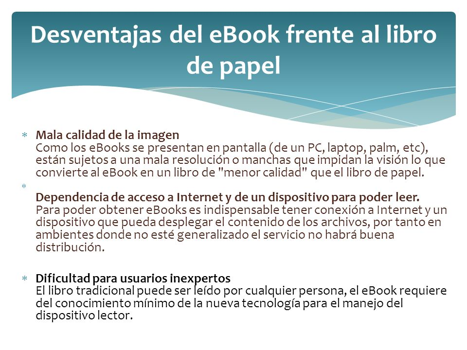Desventajas del eBook frente al libro de papel