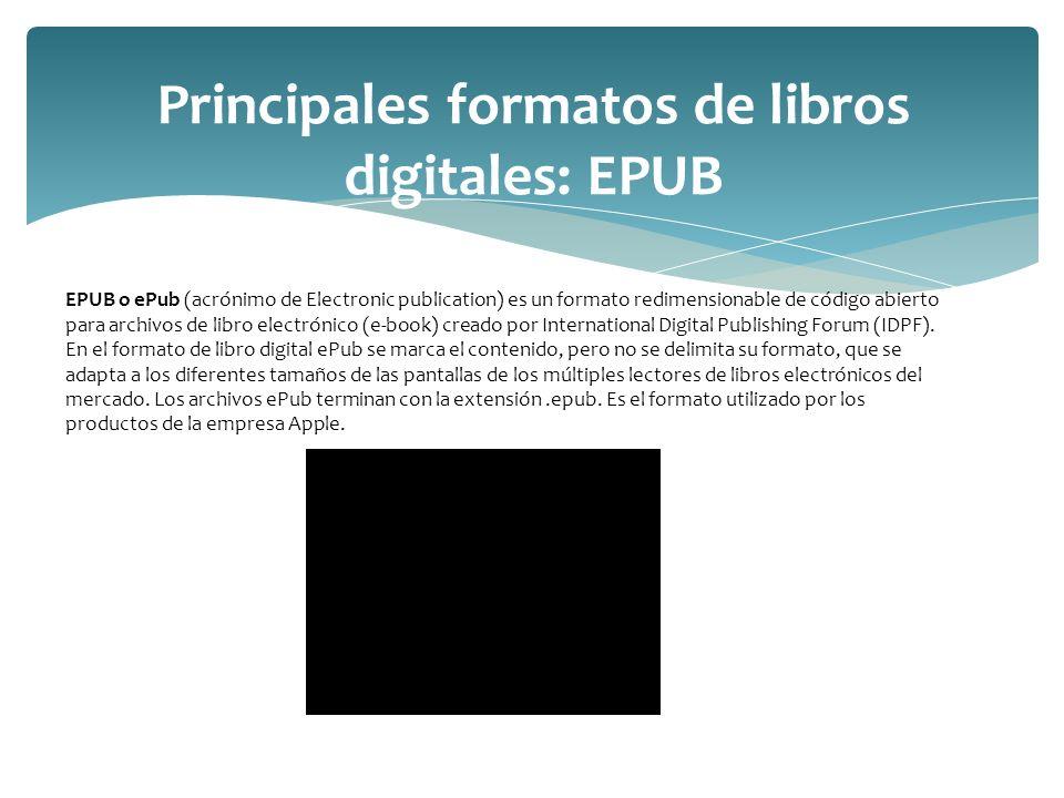 Principales formatos de libros digitales: EPUB