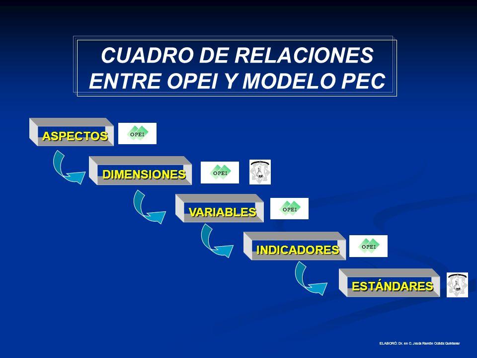 CUADRO DE RELACIONES ENTRE OPEI Y MODELO PEC
