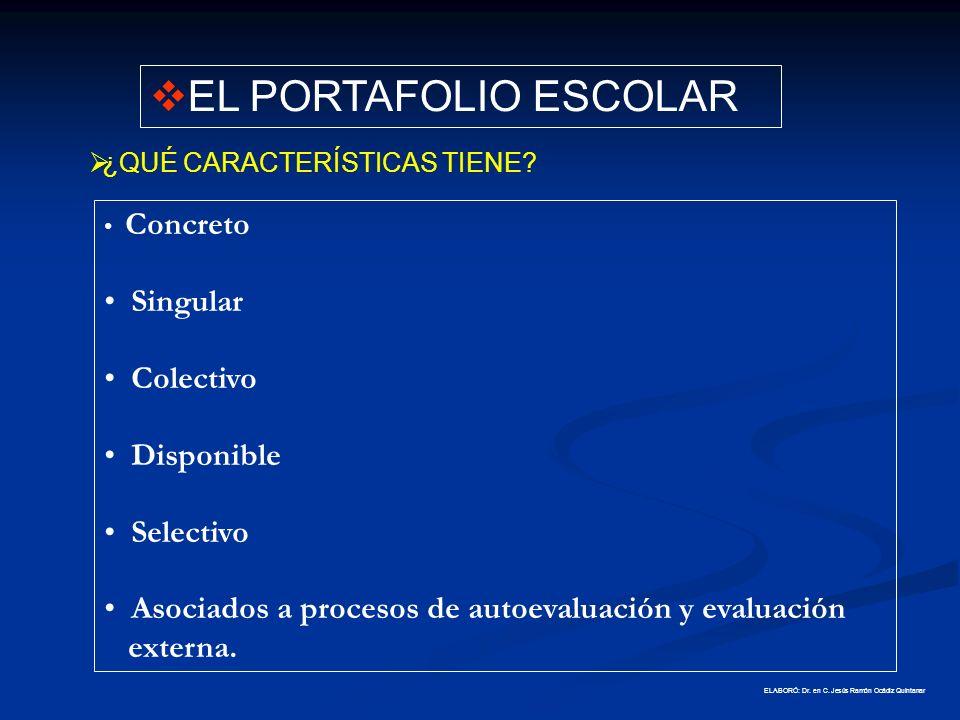 EL PORTAFOLIO ESCOLAR Singular Colectivo Disponible Selectivo