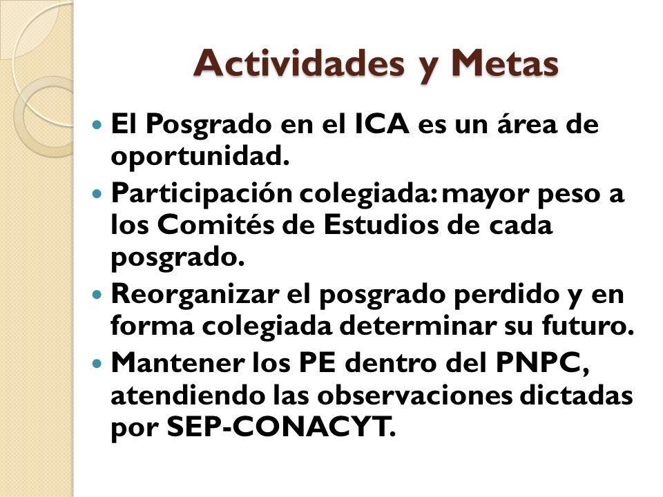 Actividades y Metas El Posgrado en el ICA es un área de oportunidad.