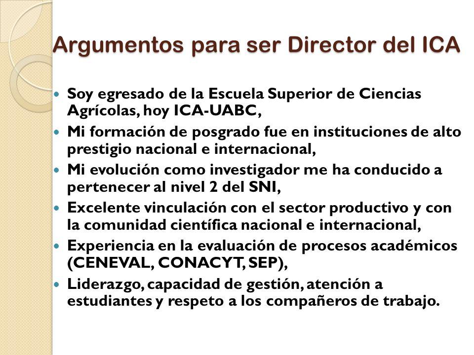 Argumentos para ser Director del ICA
