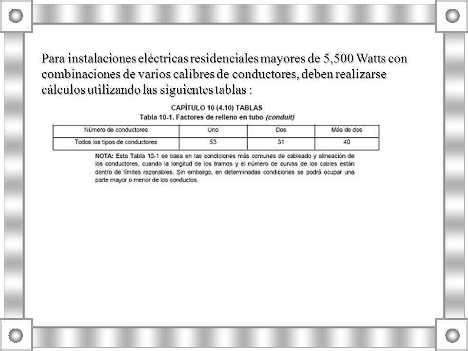 Para instalaciones eléctricas residenciales mayores de 5,500 Watts con combinaciones de varios calibres de conductores, deben realizarse cálculos utilizando las siguientes tablas :