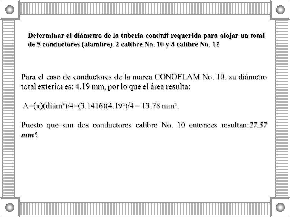 A=(π)(diám²)/4=(3.1416)(4.19²)/4 = 13.78 mm².
