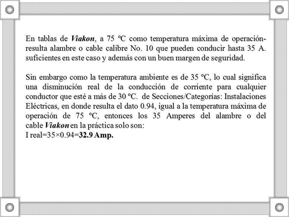 En tablas de Viakon, a 75 ºC como temperatura máxima de operación- resulta alambre o cable calibre No. 10 que pueden conducir hasta 35 A. suficientes en este caso y además con un buen margen de seguridad.