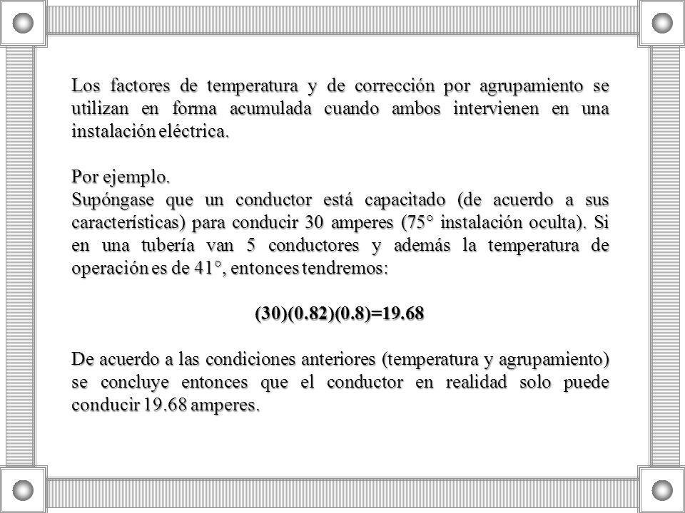 Los factores de temperatura y de corrección por agrupamiento se utilizan en forma acumulada cuando ambos intervienen en una instalación eléctrica.