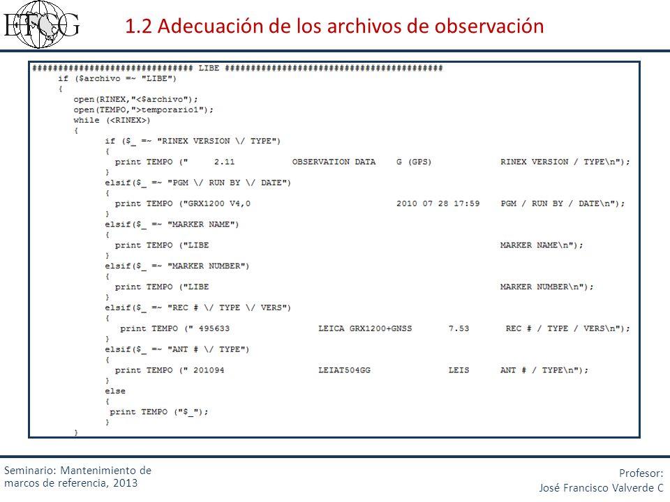 1.2 Adecuación de los archivos de observación
