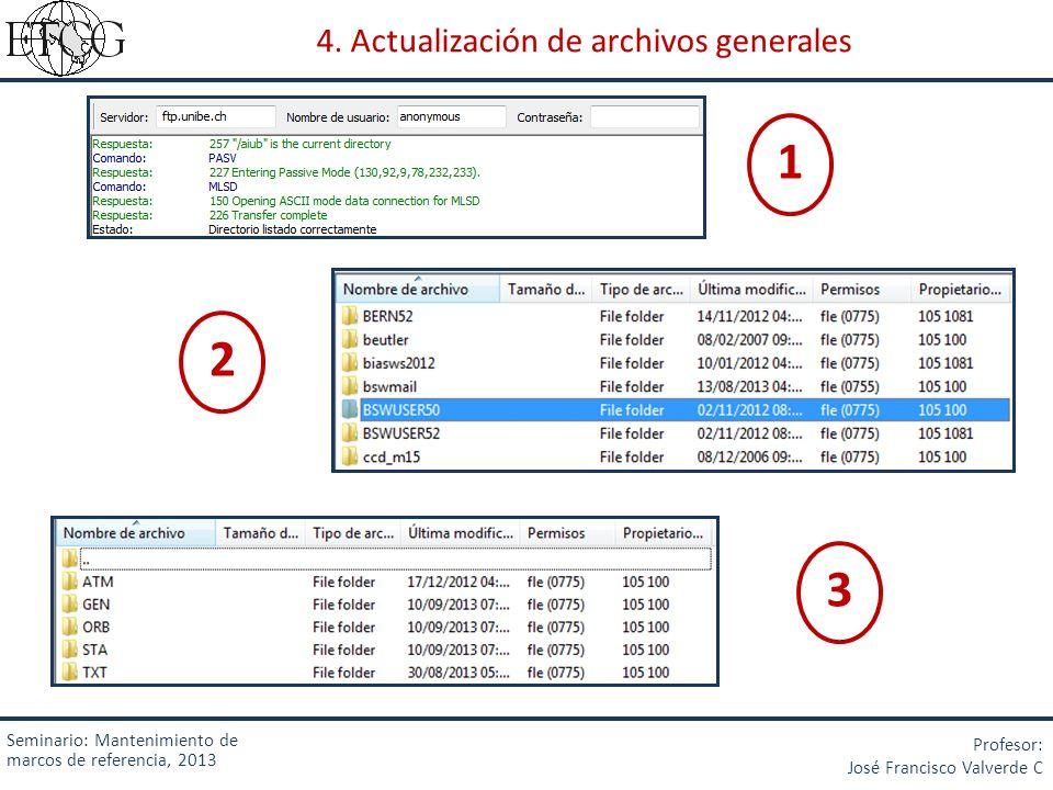 4. Actualización de archivos generales