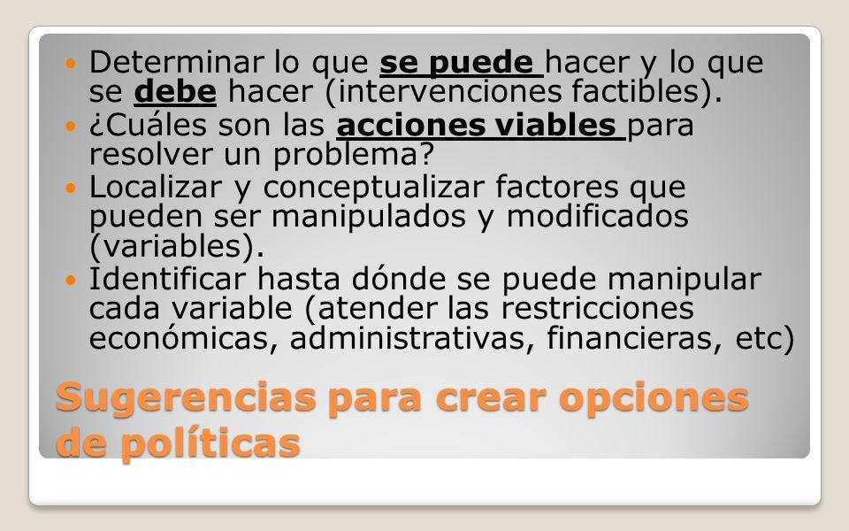 Sugerencias para crear opciones de políticas