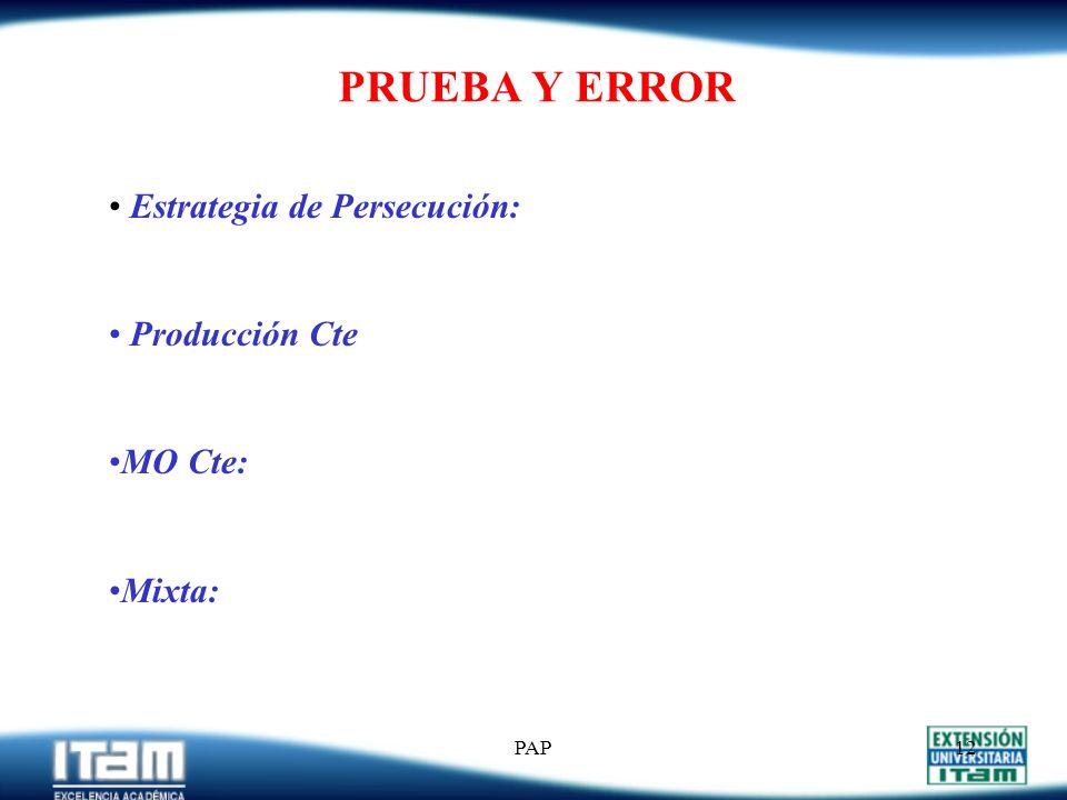 PRUEBA Y ERROR Estrategia de Persecución: Producción Cte MO Cte: