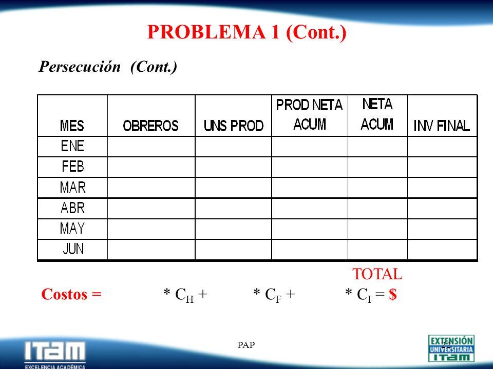 PROBLEMA 1 (Cont.) Persecución (Cont.) TOTAL