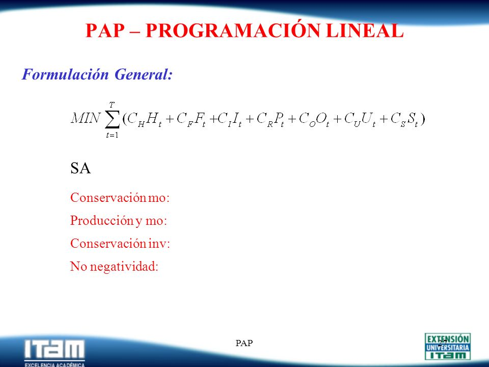 PAP – PROGRAMACIÓN LINEAL