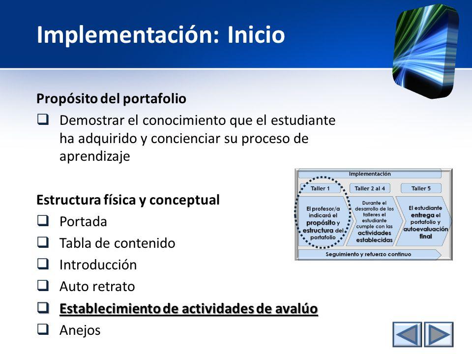 Implementación: Inicio