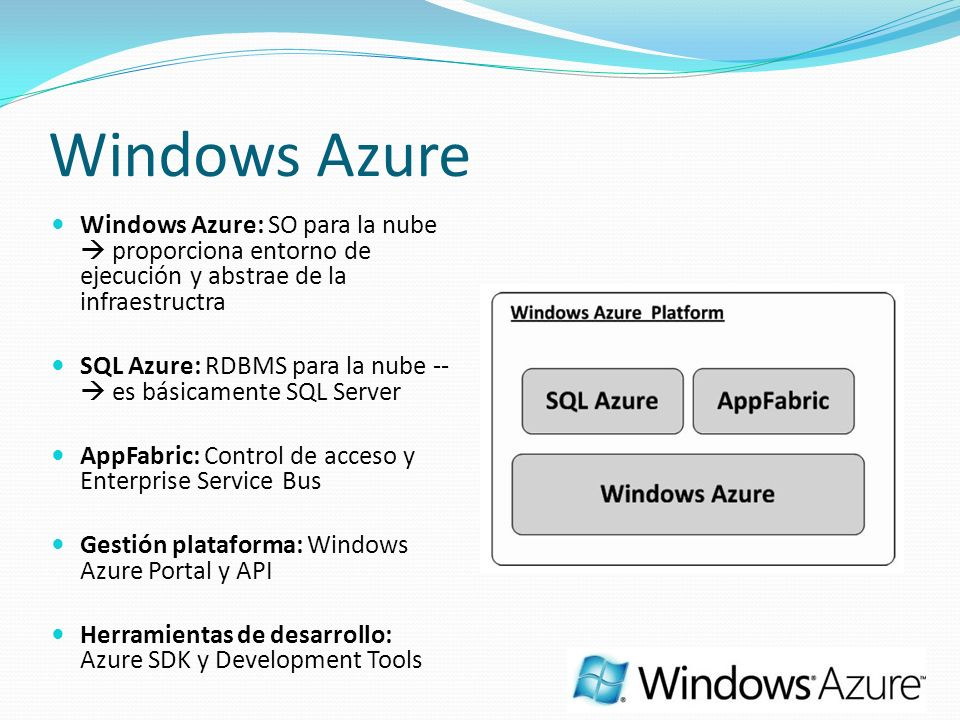 Windows Azure Windows Azure: SO para la nube  proporciona entorno de ejecución y abstrae de la infraestructra.