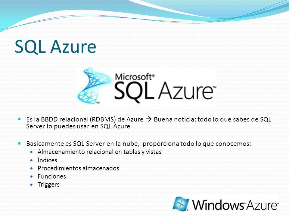 SQL Azure Es la BBDD relacional (RDBMS) de Azure  Buena noticia: todo lo que sabes de SQL Server lo puedes usar en SQL Azure.
