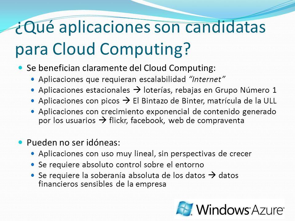 ¿Qué aplicaciones son candidatas para Cloud Computing