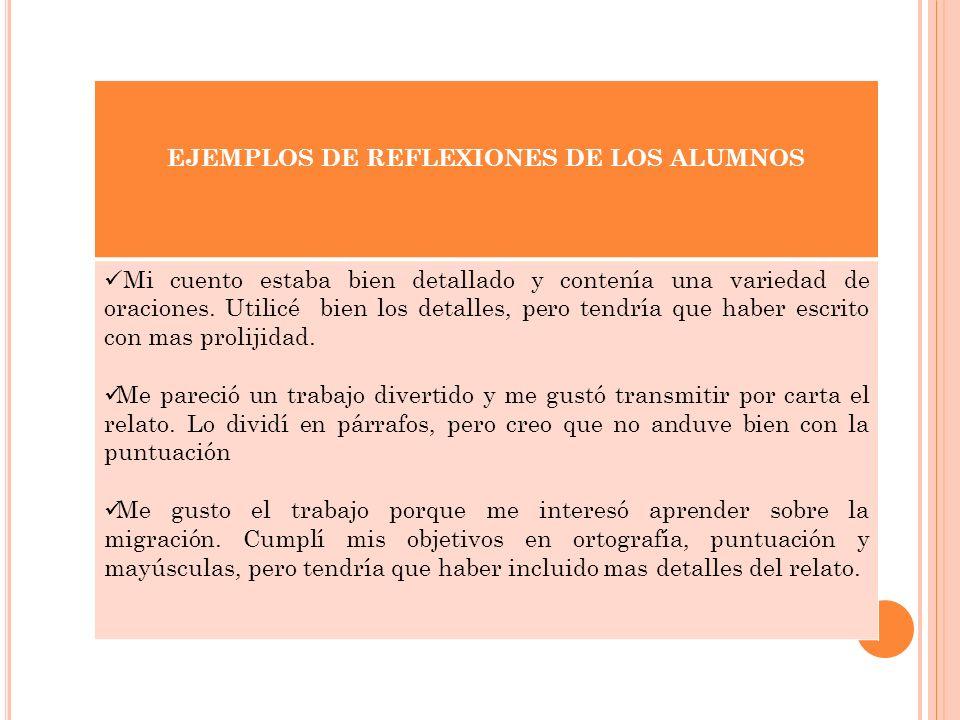 EJEMPLOS DE REFLEXIONES DE LOS ALUMNOS