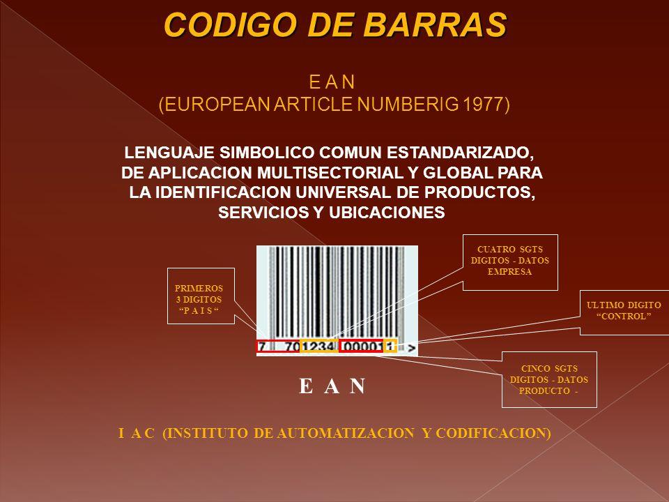 CODIGO DE BARRAS E A N E A N (EUROPEAN ARTICLE NUMBERIG 1977)