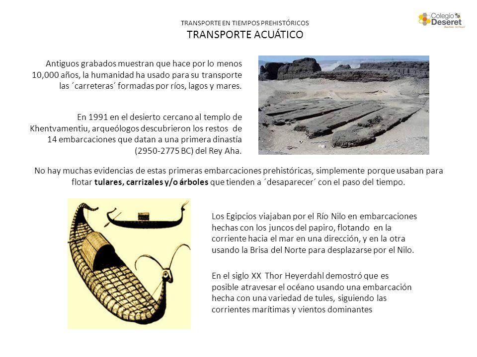 TRANSPORTE EN TIEMPOS PREHISTÓRICOS TRANSPORTE ACUÁTICO